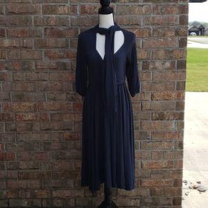 Moda International Navy Dress with Tie Size L